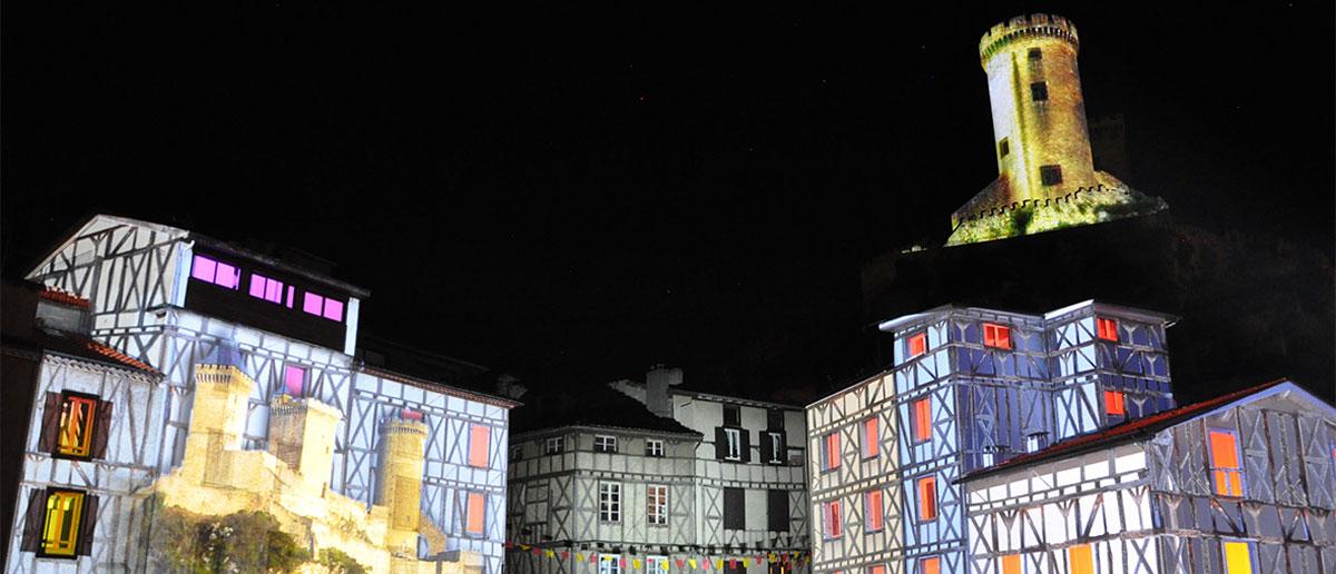 Foix - Vidéo mapping sur bâtiment et château